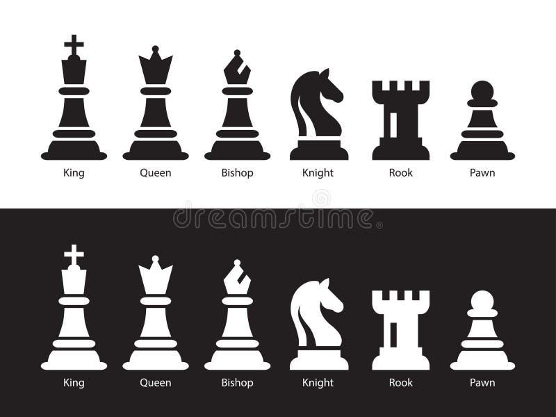 Chess Figurine Flat Vector Illustration Sex objekt, inklusive kung, drottning, biskop, Knight, Rook, Pawn vektor illustrationer