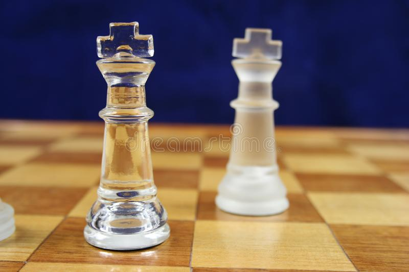 Chess Game - 2 Kings Blue Background royalty free stock photography
