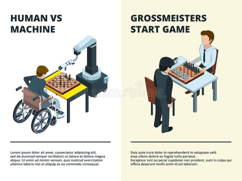 Chess game banners. Gamers playing at board tactical game various figures rook knight queen intellectual competition stock illustration