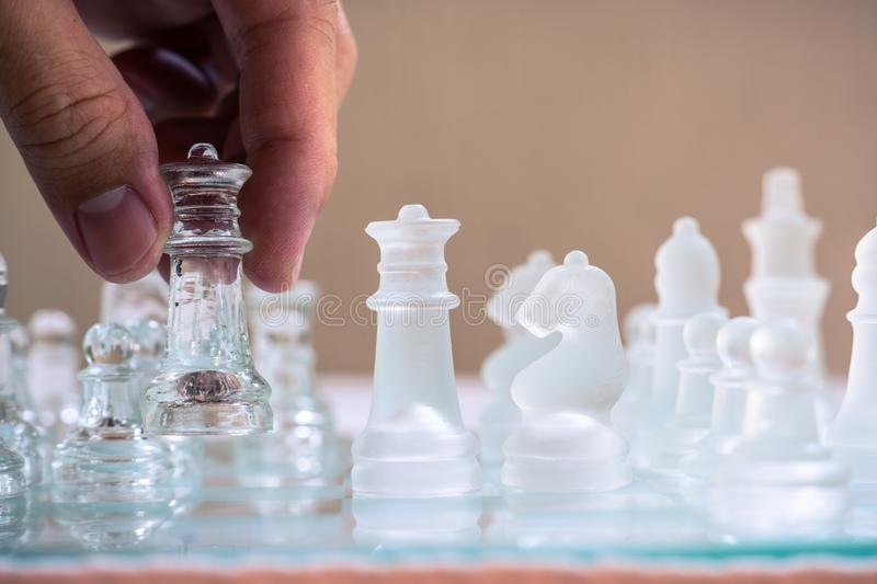 Chess game. A big move to win. Business strategy and competitive concept. Copy space. Achievement adrenaline ahead ambition brave challenge champion chance royalty free stock photos