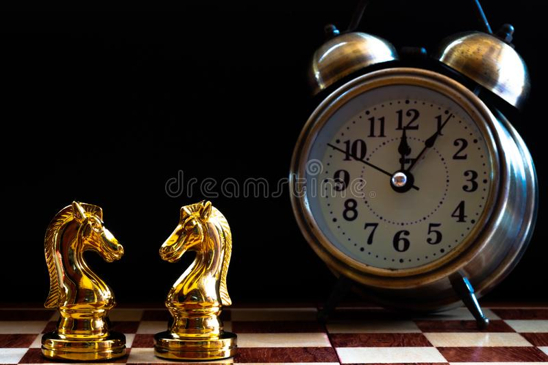 Chess game. Fighting match of Knights. Business competitive concept. Achievement adrenaline ahead ambition brave challenge champion chance competition confident royalty free stock photo
