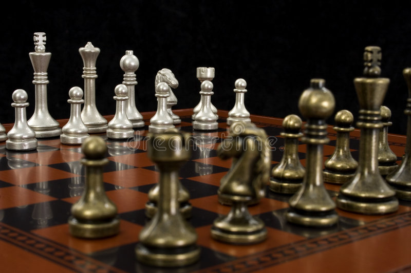 Chess Game with Focus on Light Pieces royalty free stock image