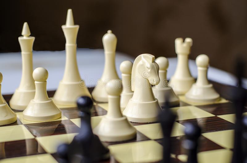 Chess game, horse is the piece in focus stock photography