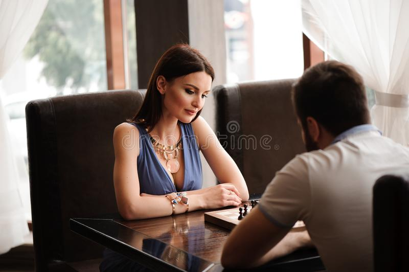 Chess game, knight ,chess on board business concept stock images