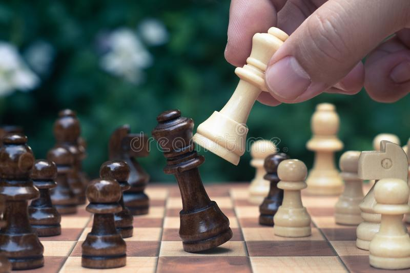 Chess game. A move to kill. Refer to business strategy and competitive concept. Achievement adrenaline ahead ambition brave challenge champion chance stock image
