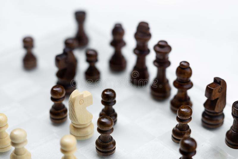 Chess game. A move to kill. Refer to business strategy and competitive concept. Achievement adrenaline ahead ambition brave challenge champion chance stock photo