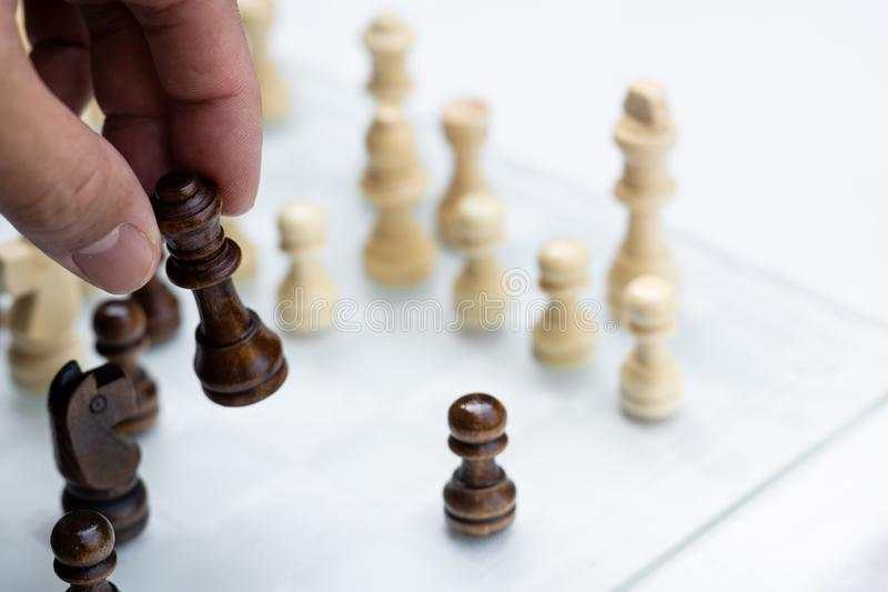 Chess game. A move to kill. Refer to business strategy and competitive concept. Achievement adrenaline ahead ambition brave challenge champion chance royalty free stock photos