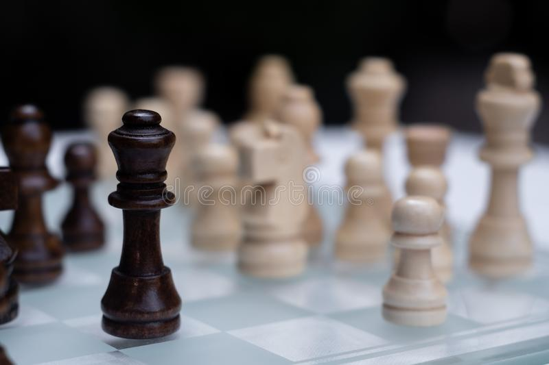 Chess game. A move to kill. Refer to business strategy and competitive concept. Achievement adrenaline ahead ambition brave challenge champion chance stock images