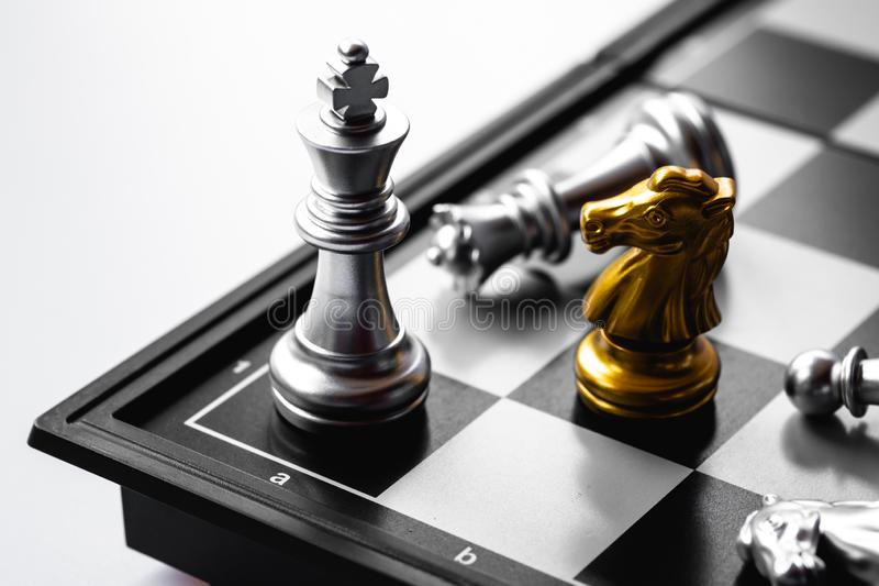 Chess game. A move to kill. Refer to business strategy and competitive concept. Achievement, adrenaline, ahead, ambition, brave, challenge, champion, chance stock photography