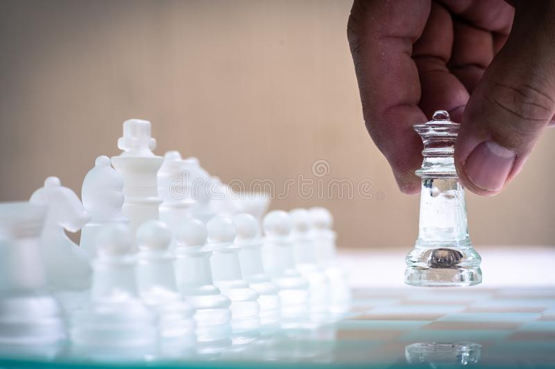 Chess game. Moving for advantage of the game. Business competitive. Copy space achievement adrenaline ahead ambition brave challenge champion chance royalty free stock image