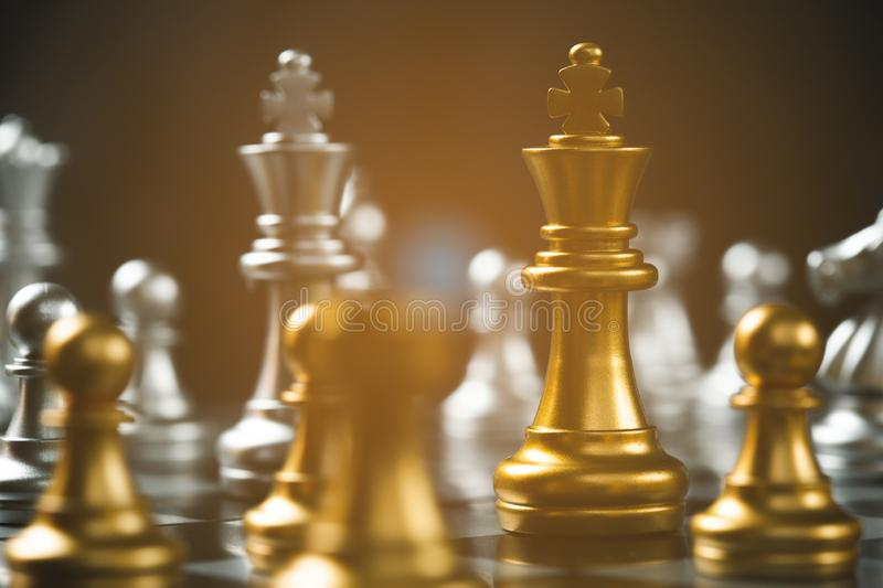 Chess game strategic business leadership successful teamwork. royalty free stock image