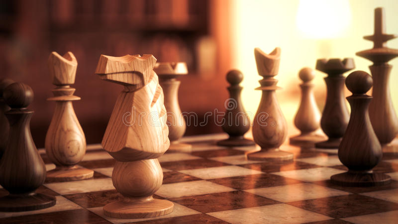 Chess horse. Chess black and white horse soldiers game macro focus 3d realise full HD stock photography