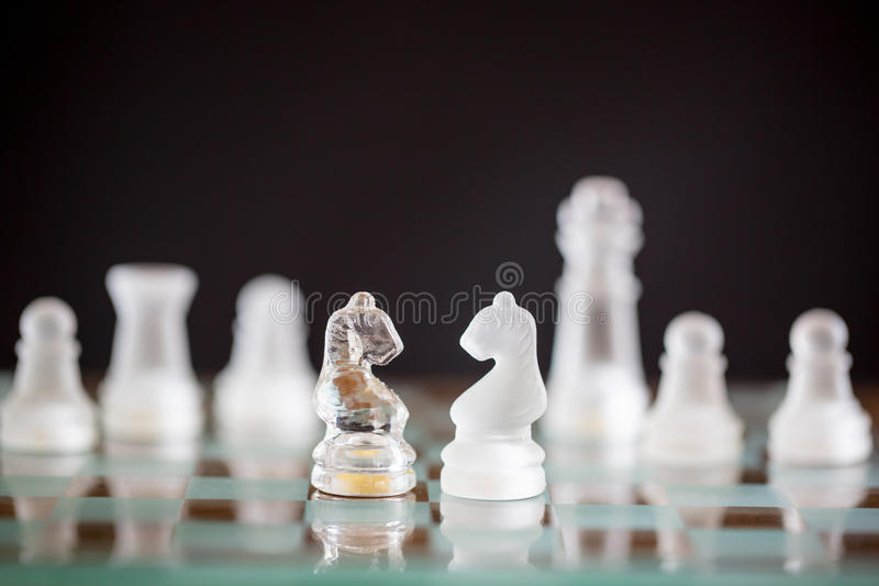 Chess horse glass start up game royalty free stock image