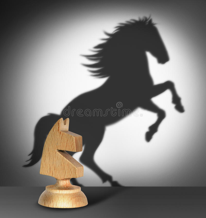 Chess horse with shadow as a wild horse stock photos