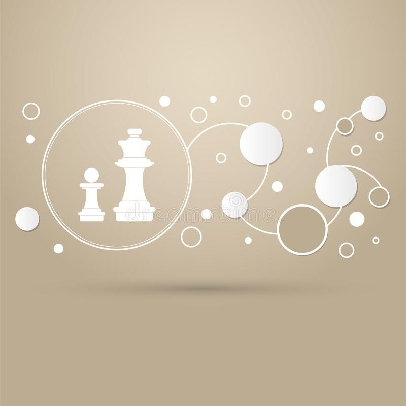 Chess Icon on a brown background with elegant style and modern design infographic. vector illustration