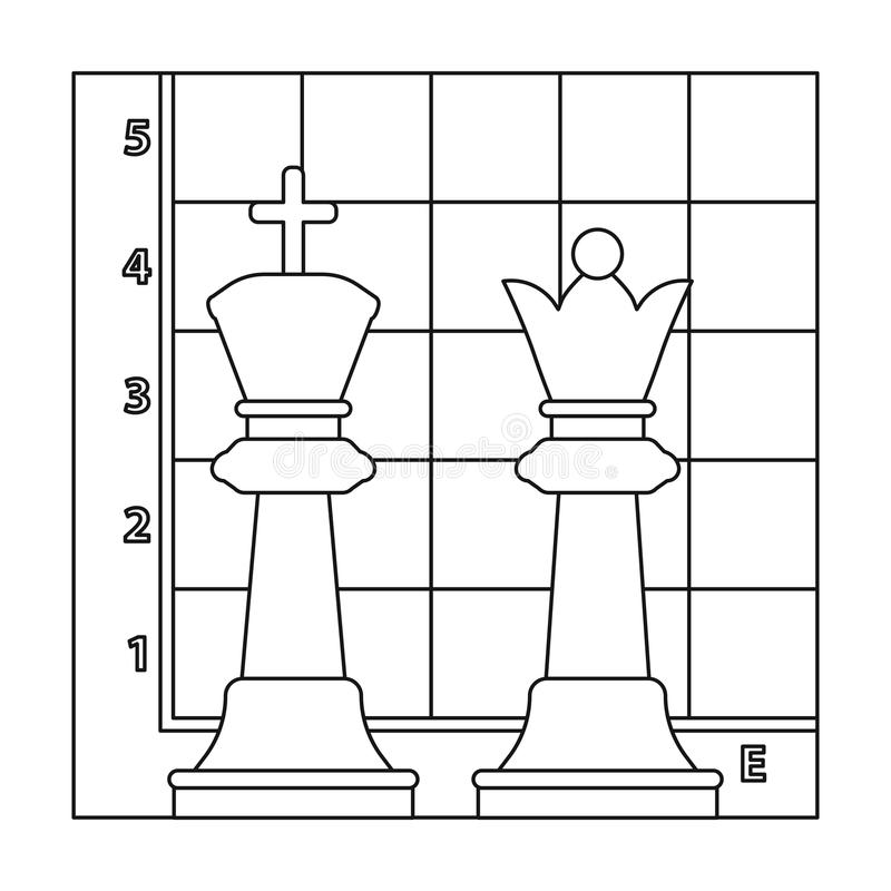 Chess icon in outline style isolated on white background. Board games symbol stock vector illustration. Chess icon in outline style isolated on white background royalty free illustration