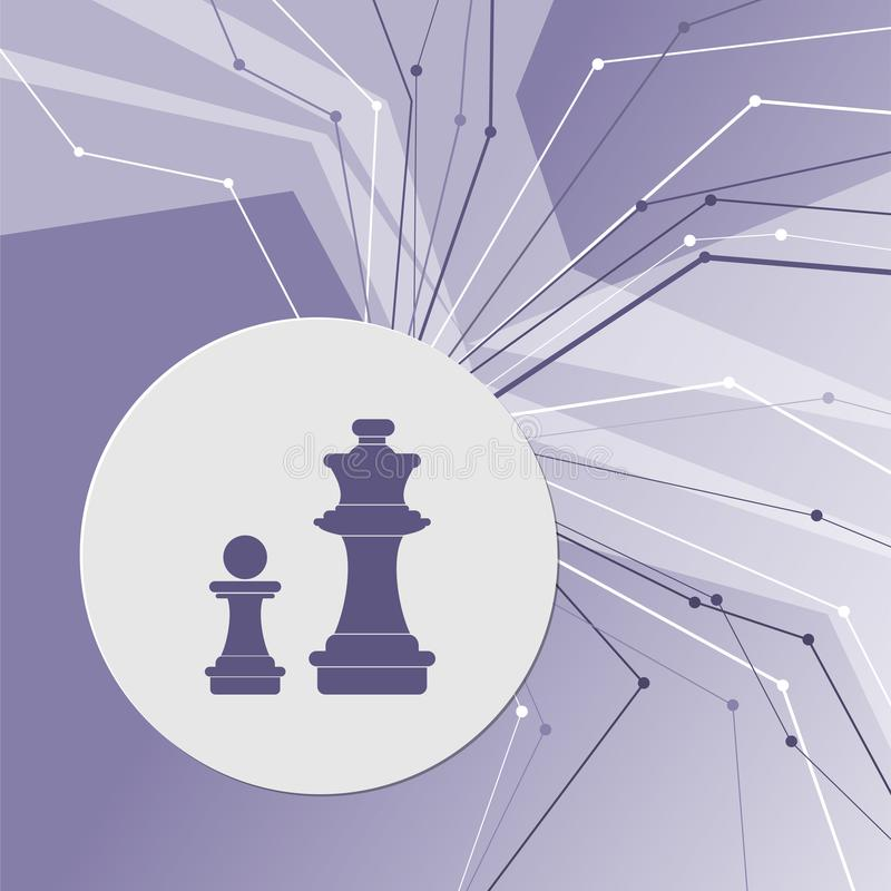 Chess Icon on purple abstract modern background. The lines in all directions. With room for your advertising. royalty free illustration