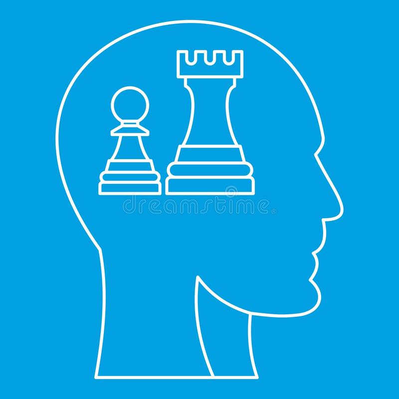 Chess inside human head icon, outline style. Chess inside human head icon blue outline style isolated vector illustration. Thin line sign vector illustration
