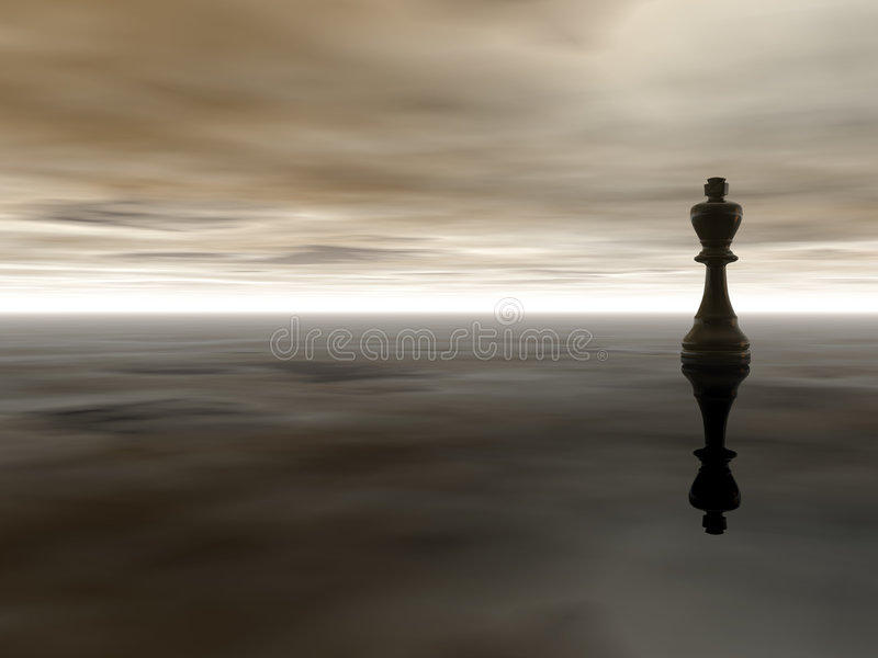 Chess king. Black chess king on cloudy stormy background - 3d illustration vector illustration