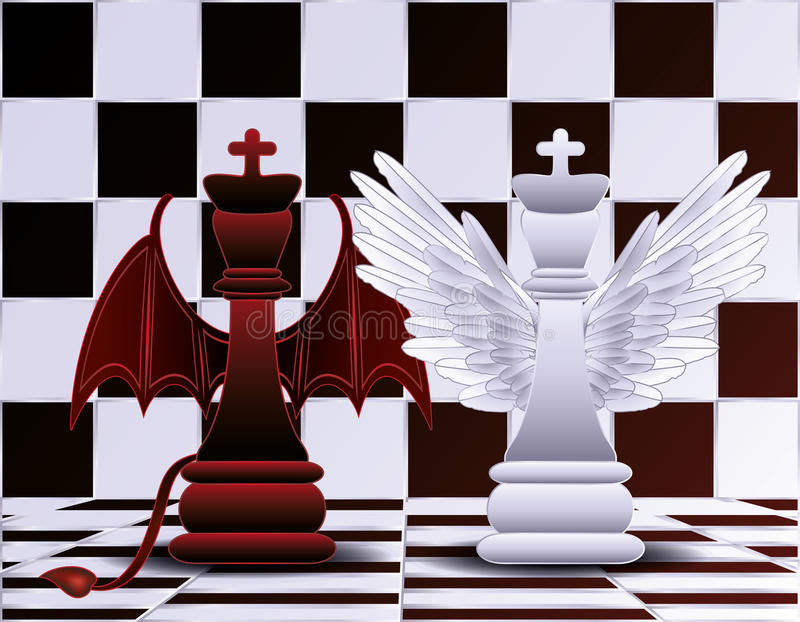 Chess King angel and devil stock illustration