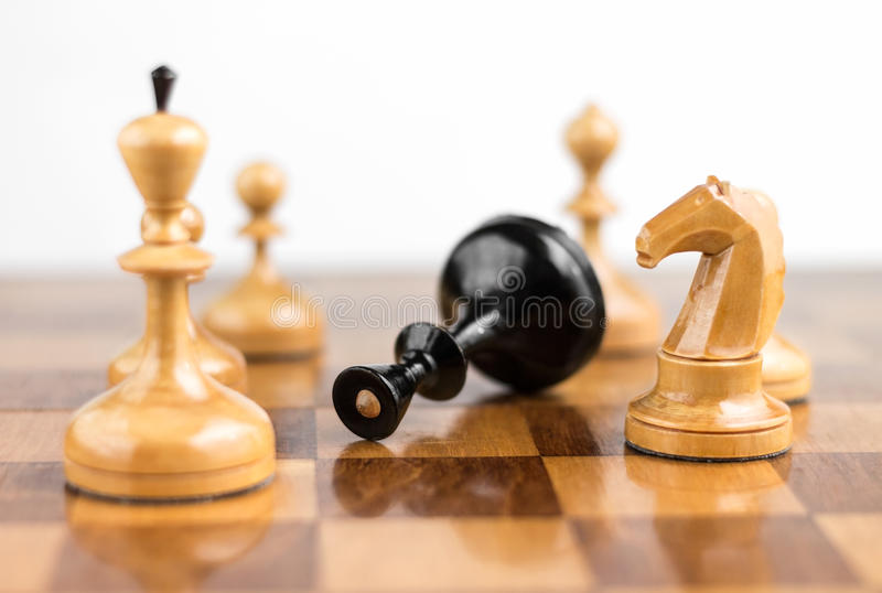 Chess king is checkmated stock images