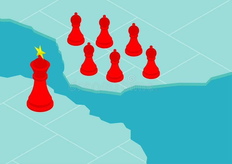 Chess King flag pattern of China with pawn of Hong Kong citizen on world map, Protest extradition legal problem poster and social. Banner post design vector illustration