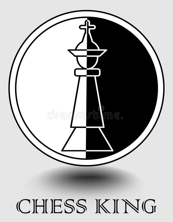 Free Chess King Icon In Monochrome Design, Vertical Splitted To Black And White Part, Object Shadow. Designed For Chess Club, Chess Mat Stock Photography - 105776762