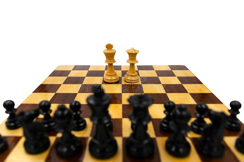 Chess, king and queen against blacks isolated on white stock photo