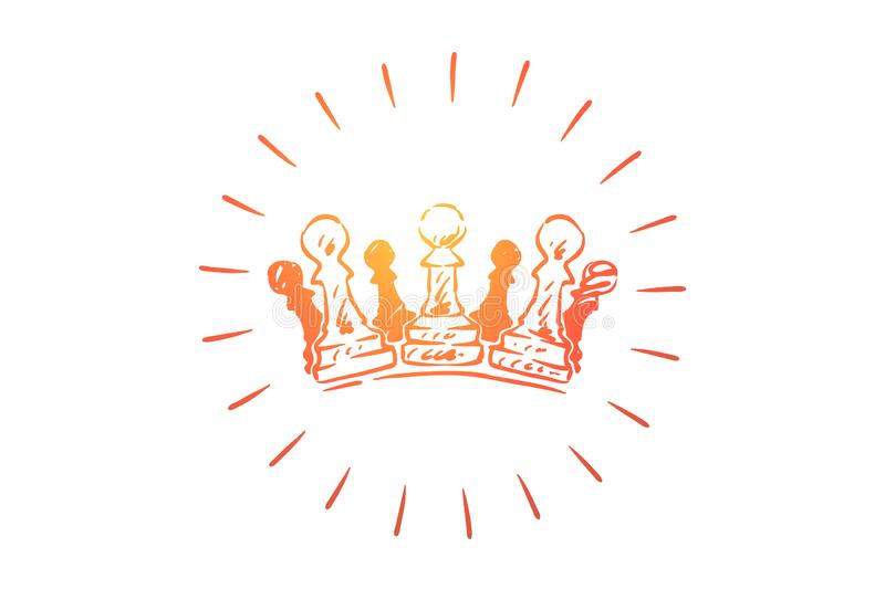 Chess king, queen metaphor, crown made of chess figures vector illustration