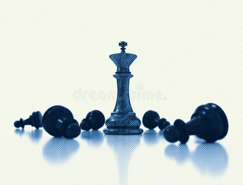 Chess king standing - game over stock photo