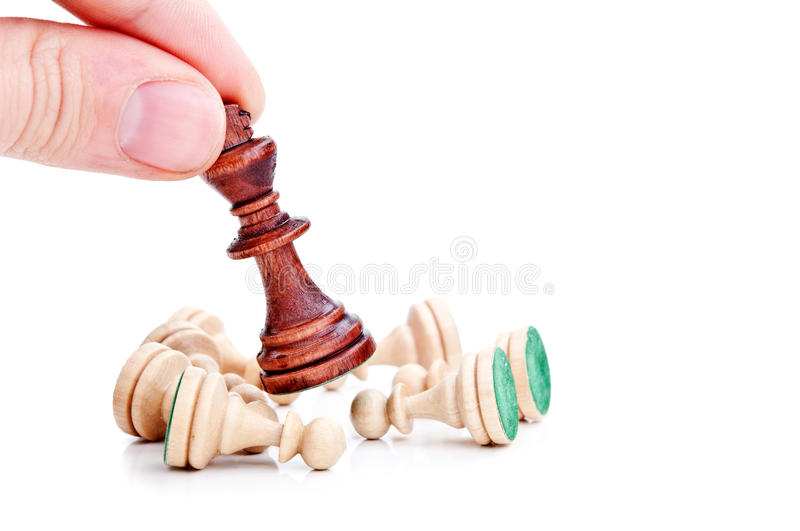 Download Chess King Surrounded By Pawns Stock Photo - Image: 23442548