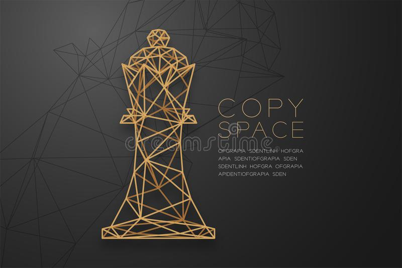 Chess King wireframe Polygon golden frame structure, Business strategy concept design illustration royalty free illustration