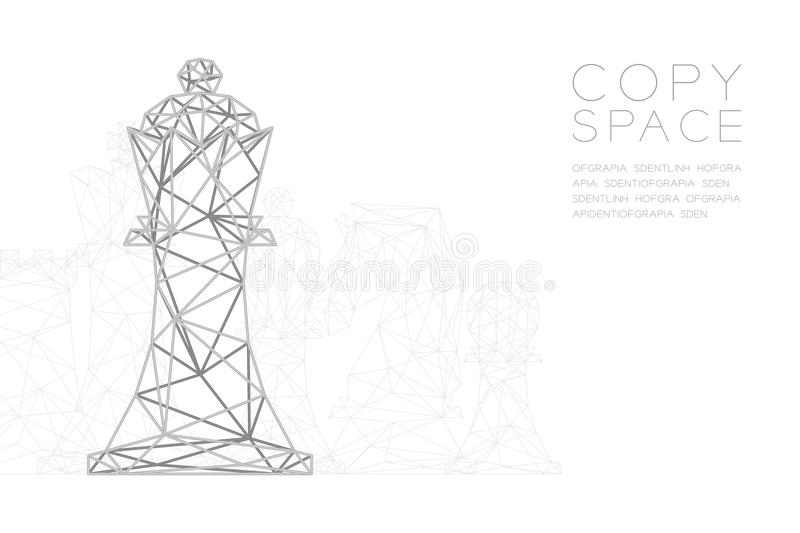 Chess King wireframe Polygon silver frame structure, Business strategy concept design illustration. Isolated on black gradient background with copy space royalty free illustration