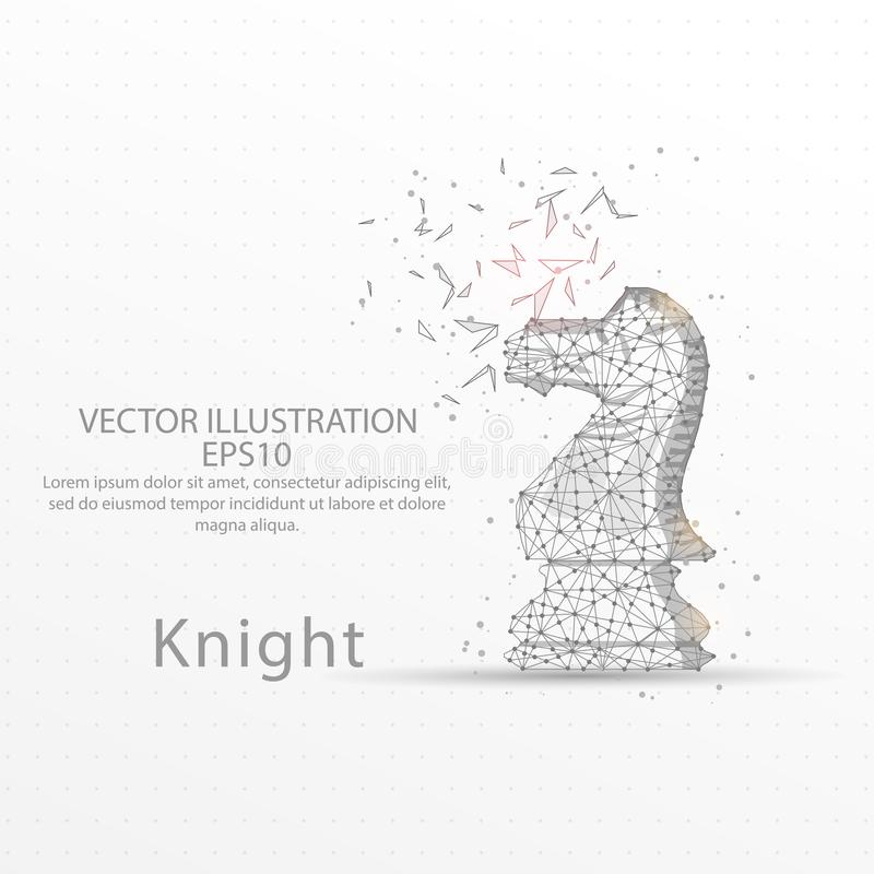Chess knight low poly wire frame on white background. stock illustration