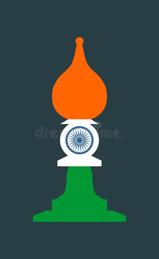 Chess knight figure. Indian flag vector illustration