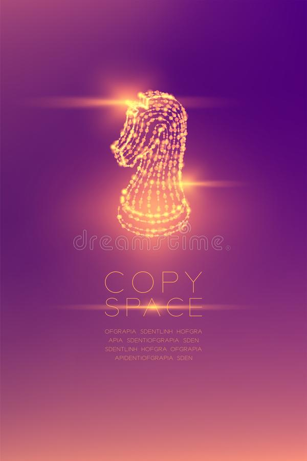 Chess Knight isometric wireframe polygon futuristic bokeh light vector illustration