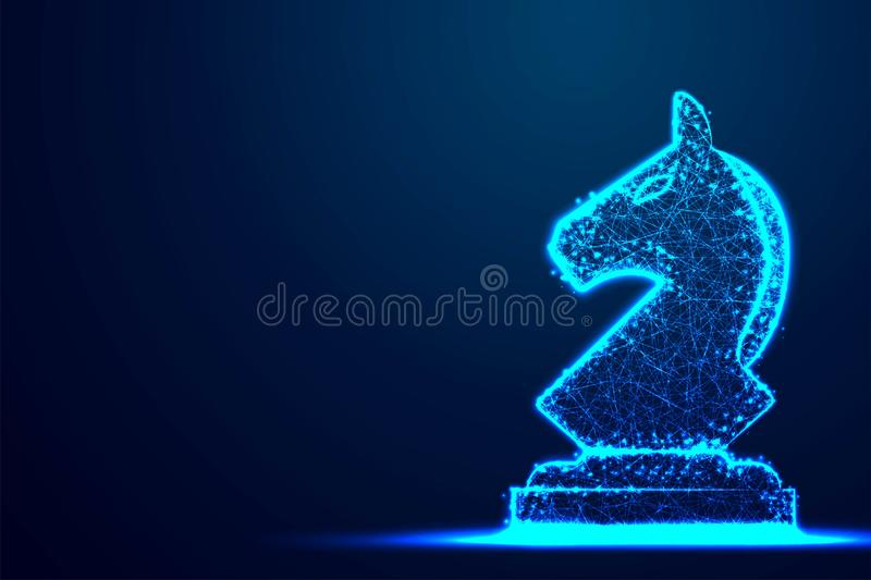 Chess Knight wireframe Polygon blue frame structure, Business strategy concept design. Abstract low poly, Triangle, dot, line, royalty free illustration