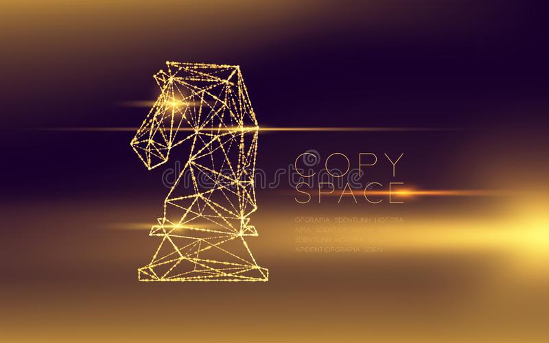Chess Knight wireframe polygon futuristic bokeh light frame structure and lens flare, Business strategy concept design illustratio stock illustration