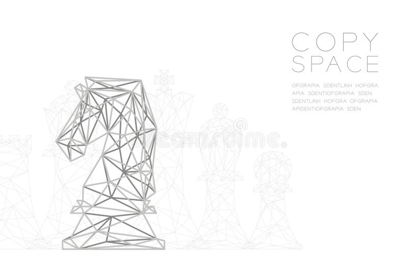 Chess Knight wireframe Polygon silver frame structure, Business strategy concept design illustration royalty free illustration