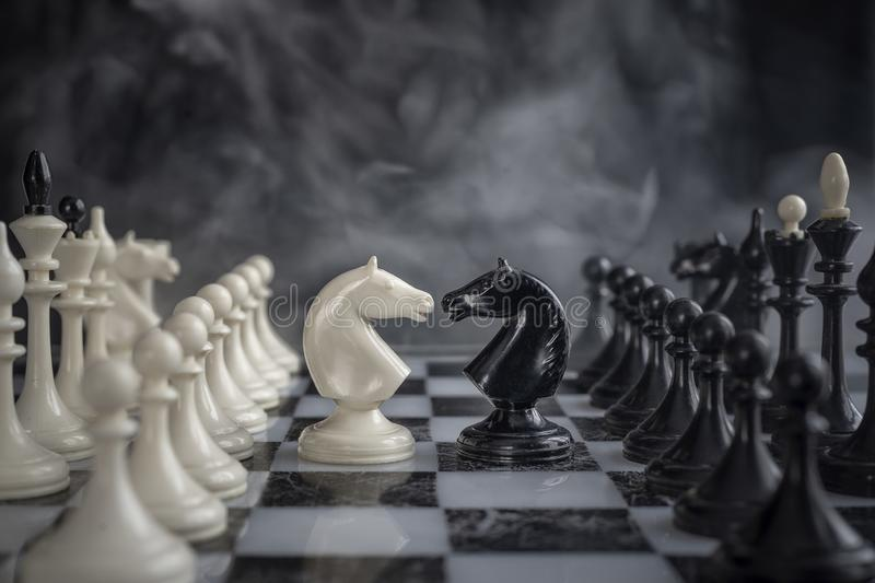Chess knights head to head royalty free stock photography