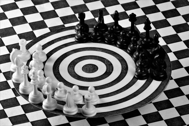 Chess is like a game to hit the target. Chess is a popular ancient Board logic antagonistic game with special black and white stock images