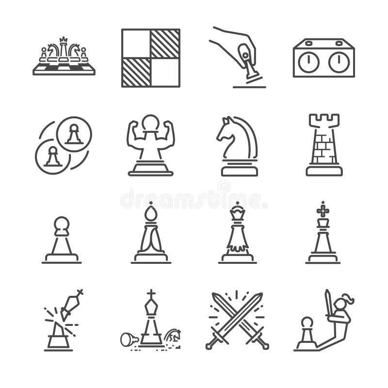 Chess line icon set stock illustration