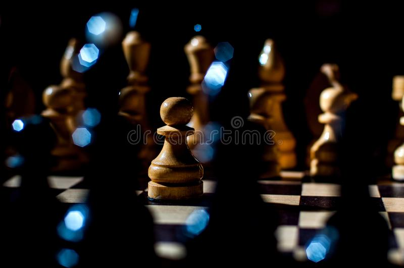 Chess is a logic Board game with special pieces on a 64-cell Board for two opponents, combining elements of art, science and sport. Chess is a logic Board game stock image
