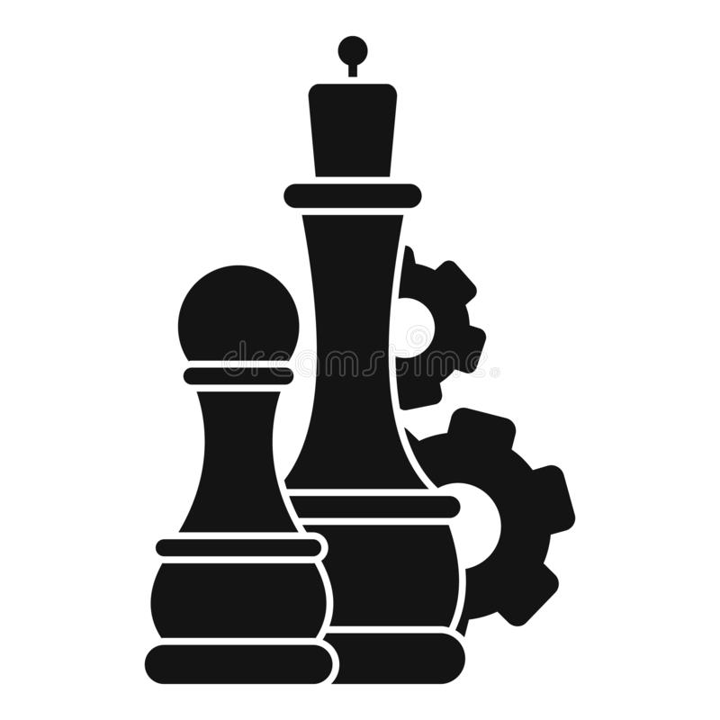 Chess logic gear icon, simple style royalty free illustration