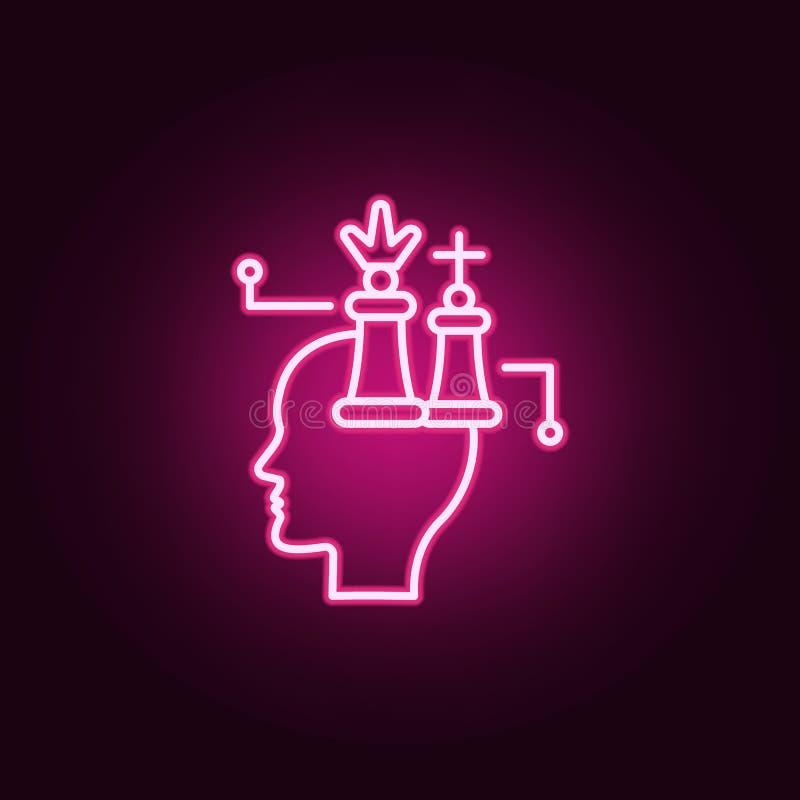Chess, marketing, brain neon icon. Elements of Creative thinking set. Simple icon for websites, web design, mobile app, info. Graphics on dark gradient stock illustration