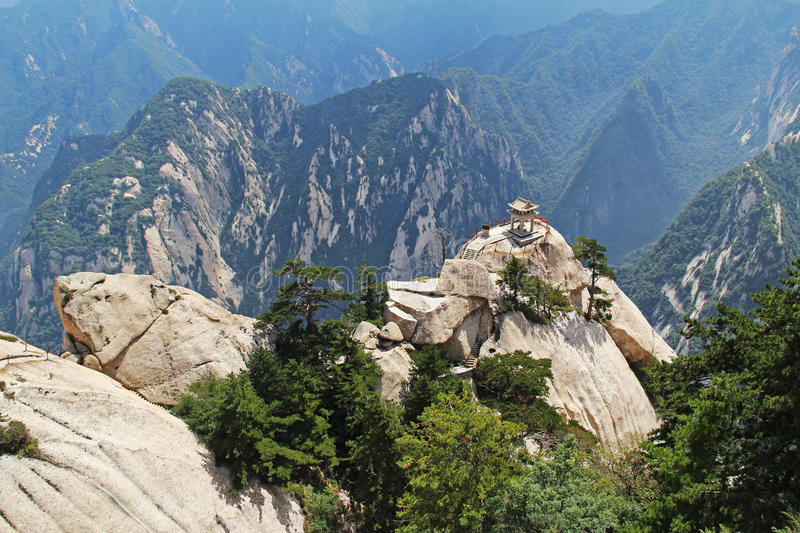 The chess pavilion in the mountains Huashan Mountain, China stock photography