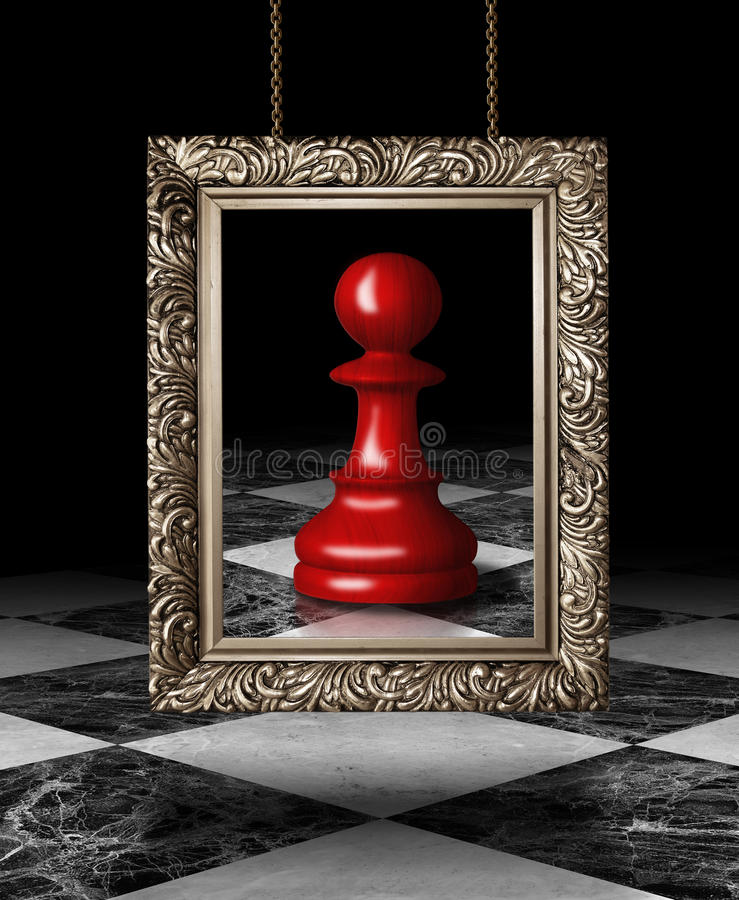 Chess pawn on golden frame stock image