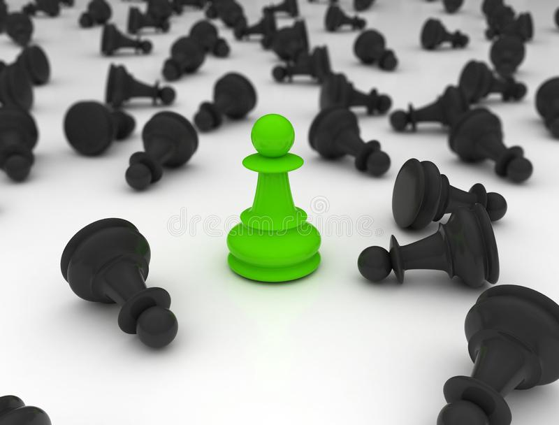 Chess pawn green last one standing stock image