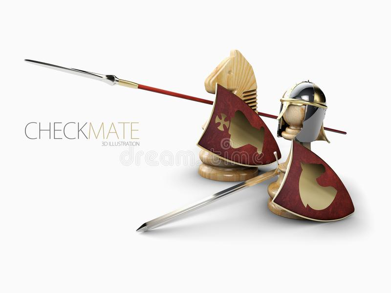 A chess pawn in a knights armor with chess knight, 3d Illustration royalty free illustration