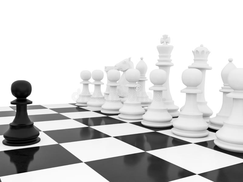 Chess pawn one oustanding single leader strategy courage  - 3d rendering stock illustration